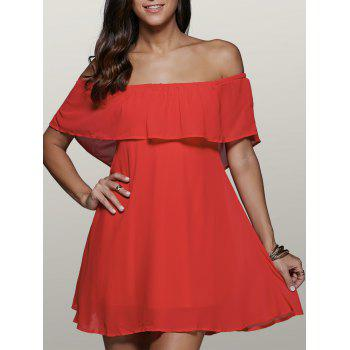 Off Shoulder Flounce Ruffles Mini Skater Dress
