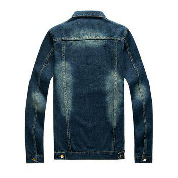 Button Up Mock Pocket Design Denim Jacket - DENIM BLUE 3XL