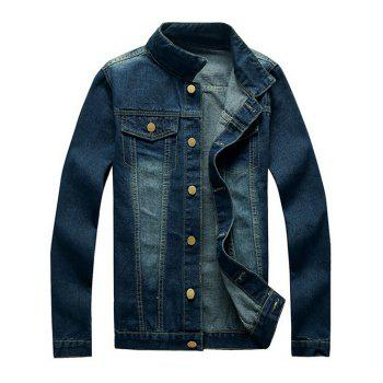 Button Up Mock Pocket Design Denim Jacket