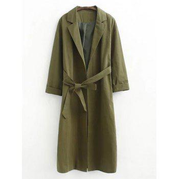 Long Wrap Belted Raglan Sleeve Maxi Trench Coat