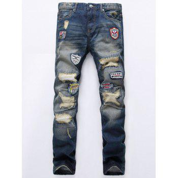 Patch Design Destroyed Jeans
