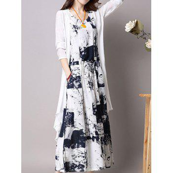 Elastic Waist Printed Dress and Cardigan