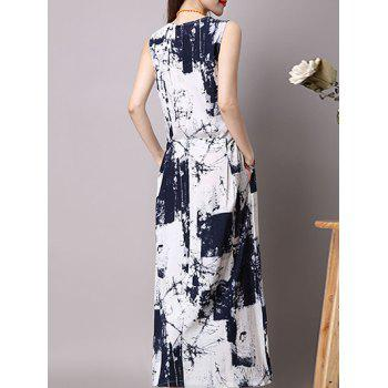 Maxi Elastic Waist Printed Dress and Cardigan - DEEP BLUE M