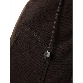 Drawstring Hooded Coat with Pockets - BROWN 2XL