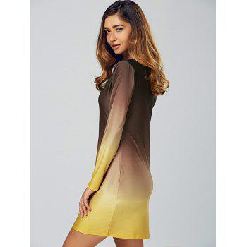 Ombre Slimming Long Sleeve T Shirt Dress Coffee Yellow