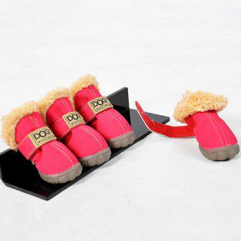 Winter 4PCS/ Set Pet Waterproof PU Dog Shoes - M M