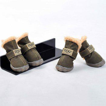 Winter 4PCS/ Set Pet Waterproof PU Dog Shoes - COFFEE COFFEE