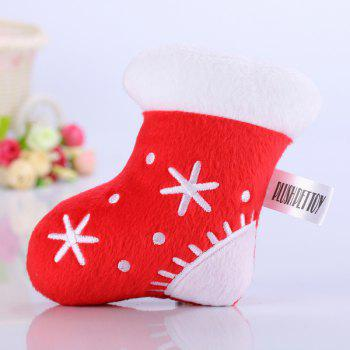 Plush Christmas Socks Chew Squeaky Toy For Pet Dog - RED RED