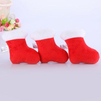 Plush Christmas Socks Chew Squeaky Toy For Pet Dog -  RED