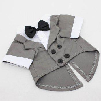 Soft Dovetail Dress Bow Tie Coat Pet Dog Clothes - GRAY L