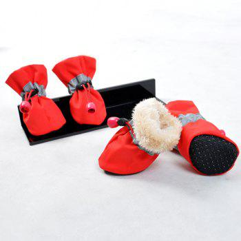 Winter 4PCS/ Set Waterproof Nylon Pet Dog Shoes - RED RED