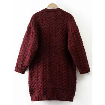 Cable Knit Thickening Cardigan - WINE RED ONE SIZE