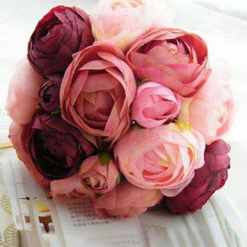 Bridal Real Touch Peony Decor Artificial Flower - WINE RED