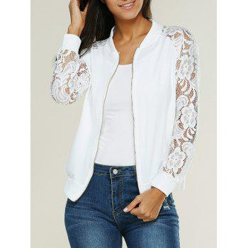 Lace Insert Bomber Zip Up Jacket - WHITE S
