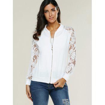 Lace Insert Bomber Zip Up Jacket - S S