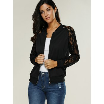 Lace Insert Bomber Zip Up Jacket - BLACK XL