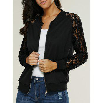 Lace Insertion Bomber Zip Up Jacket