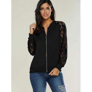 Lace Insert Bomber Zip Up Jacket - BLACK BLACK