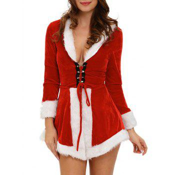 Long Sleeve Velvet Midi Dress With Santa Hat - RED WITH WHITE ONE SIZE