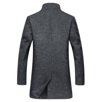 Stand Collar Coat Retour Slit Single-breasted Woolen - gris M