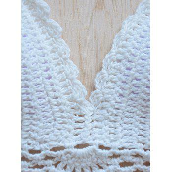 Halterneck Flower Scalloped Knitted Bikini - WHITE M