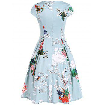 Vintage Swing Sweetheart Neck Floral Print Dress - LIGHT GREEN S