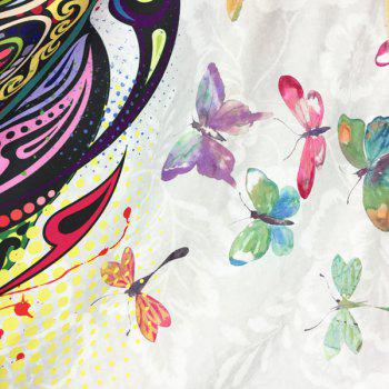 Colorful Butterfly Scarf - WHITE