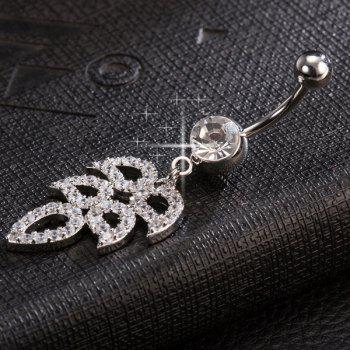 Layered Wings Rhinestone Navel Button - SILVER