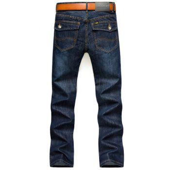 Brief Style Flap Pocket Design Straight Jeans - DEEP BLUE 28