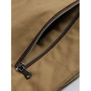 PU-Leather Splicing Design Zip-Up Stand Collar Jacket - KHAKI L