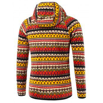 Raglan manches imprimé tribal Hooded Zip Up Jacket - Rouge M