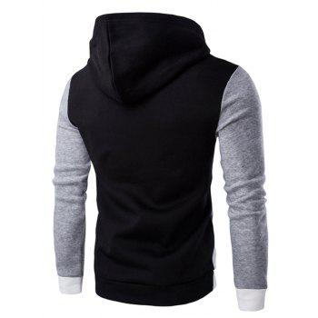 Slim Fit Color Blocked Pullover Hoodie - BLACK L