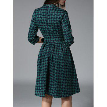 3/4 Sleeves Plaid Belted Dress - GREEN L