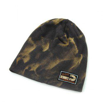 Winter Spotted Pattern Double-Deck Knit Ski Hat - GRAY