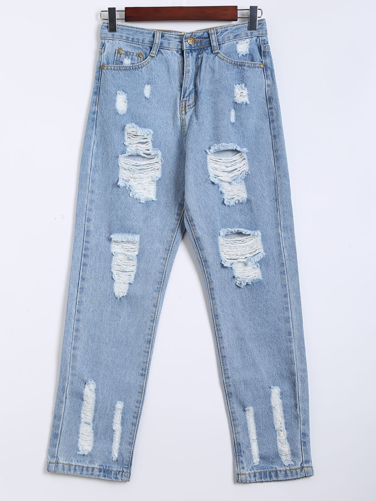 Destroy Wash Frayed Harem Jeans - LIGHT BLUE XL