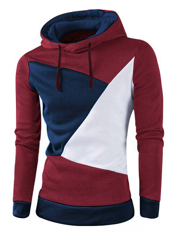 IZZUMI Stylish Color Block Spliced Slim Fit Casual Long Sleeve Hoodies For Men - WINE RED L