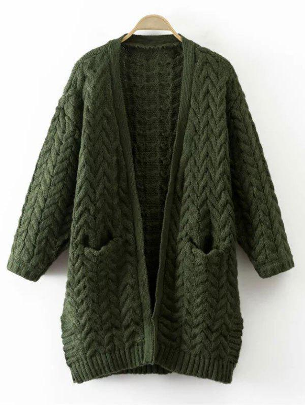 Cable Knit Thickening Cardigan - GREEN ONE SIZE