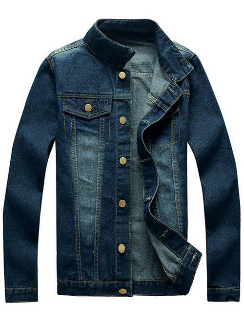 Button Up Mock Pocket Design Denim Jacket - DENIM BLUE M