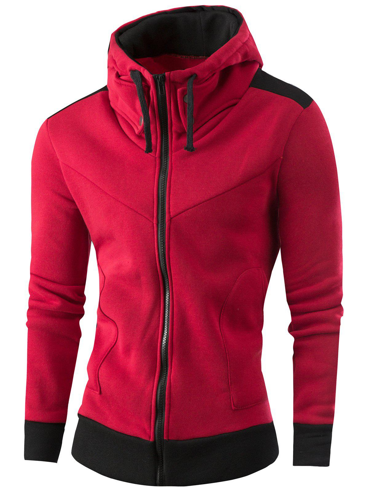Full Zipper Deux Tons Sweat à Capuche - Vin rouge L
