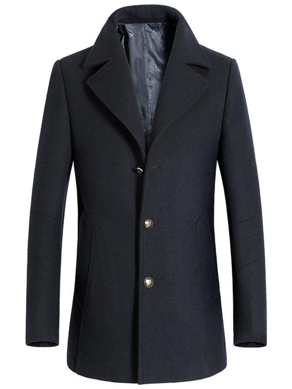 Simple boutonnage palangre Manteau en laine - Cadetblue L