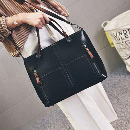 Multi Zips PU Leather Tote - BLACK