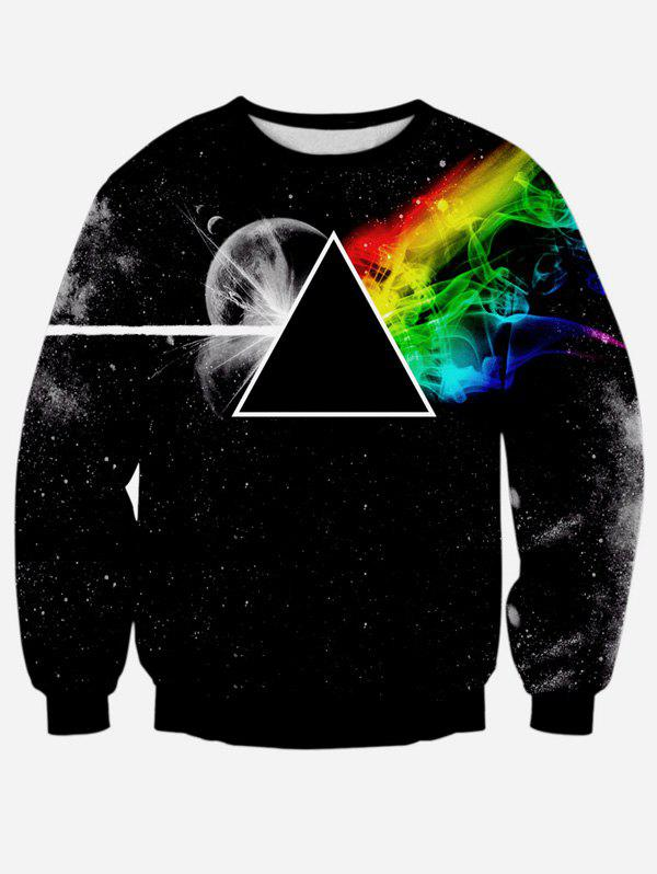 Prism Printing Long Sleeve Crew Neck Sweatshirt - BLACK M