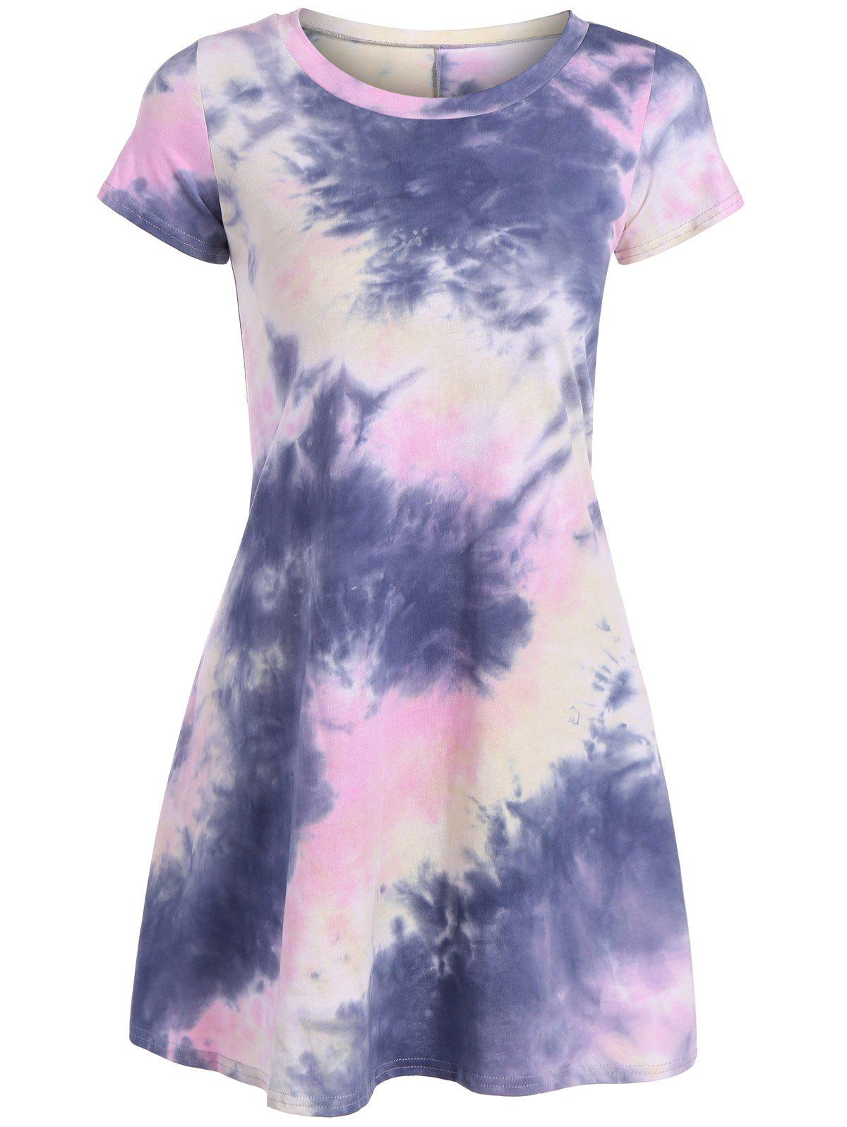 Buy Loose Tie-Dyed T-Shirt Dress COLORMIX