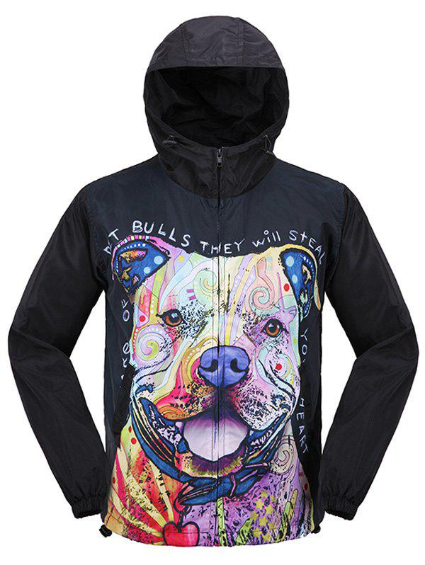 Hooded Puppy 3D Print Zip Up Jacket - Noir XL