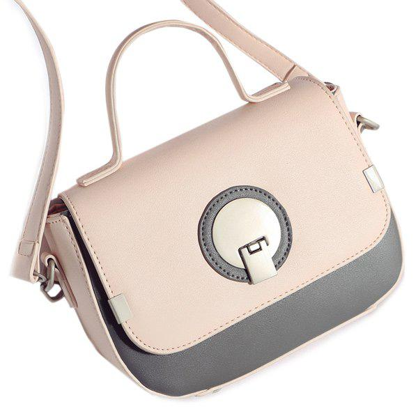 PU Leather Color Spliced Metal Crossbody Bag - SHALLOW PINK
