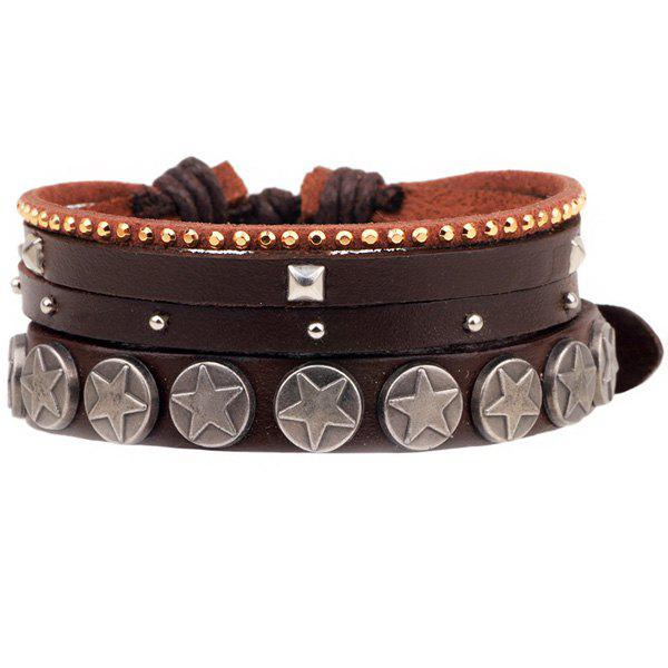 Star rivet faux leather bracelet brown in men 39 s jewelry for Rivets for leather jewelry