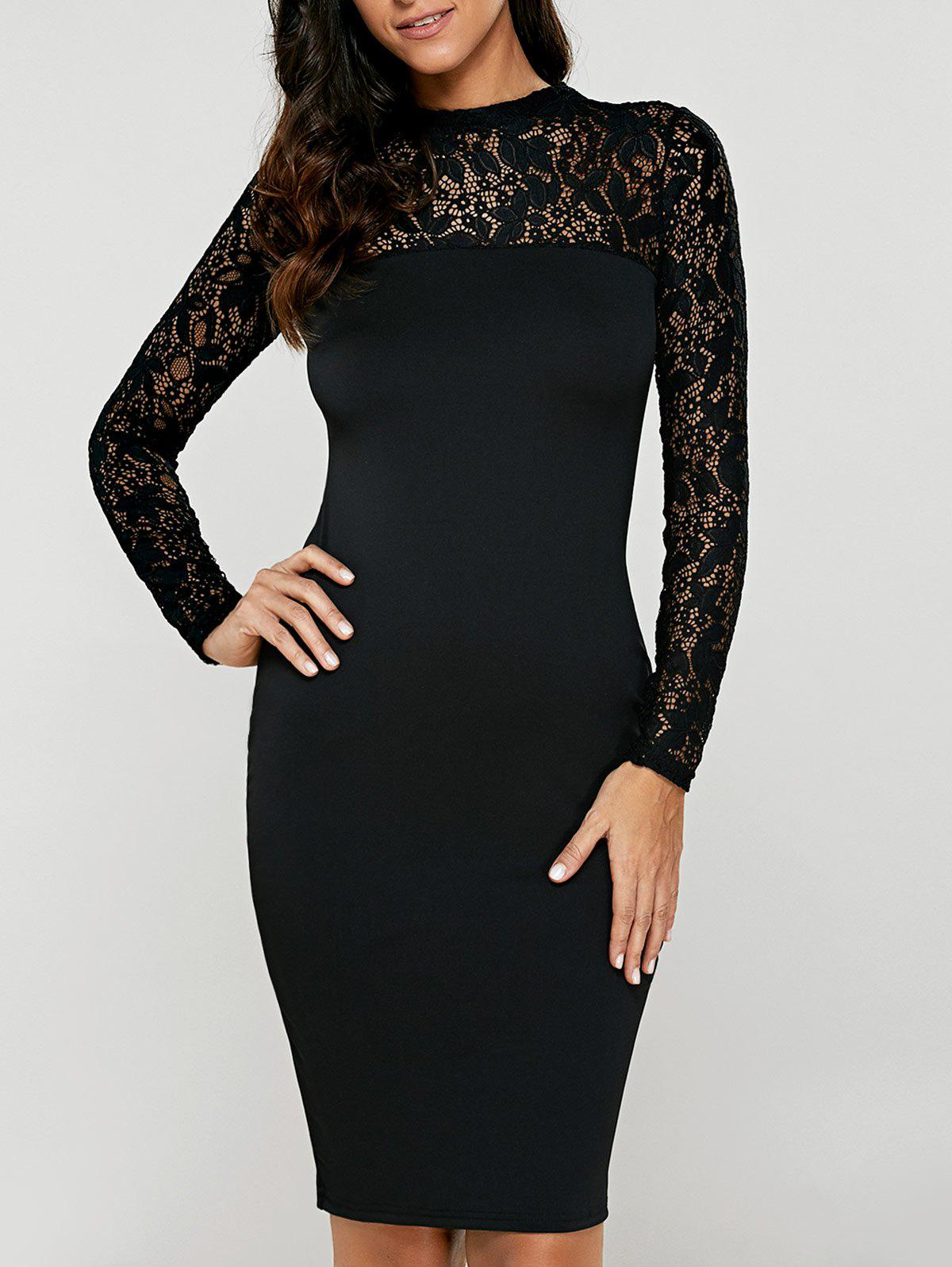 Lace Insert Long Sleeve Pencil Dress - BLACK M