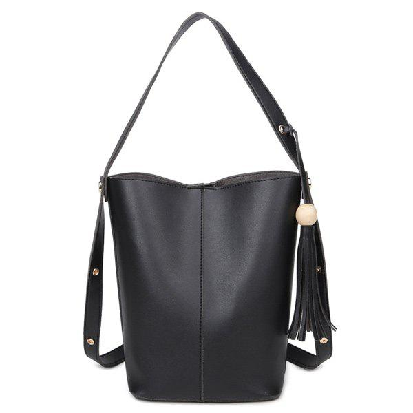 Tassels Bead Snap Closure Shoulder Bag - BLACK