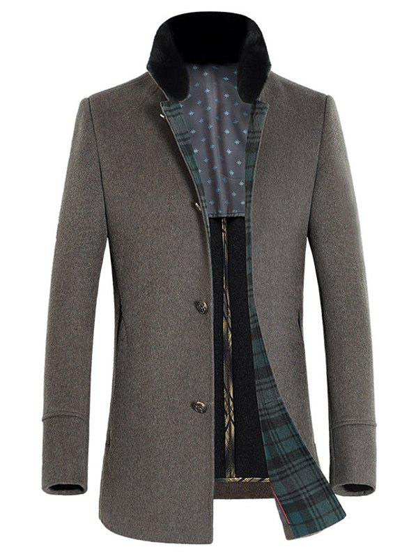 Buy Stand Collar Single-Breasted Thicken Wool Coat CAMEL