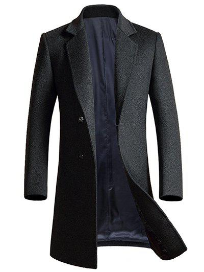 Lapel Single-breasted Allonger Manteau en laine - gris 3XL